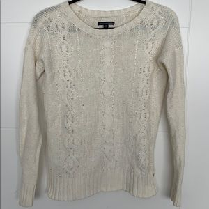American Eagle Knit Cream White Beads Sweater
